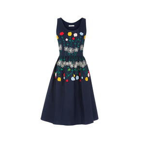Medium vivetta navy cotton embroidered sleeveless dress avenue 32