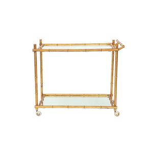 Medium 1st dibs italian gilt iron stylized bamboo serving bar cart