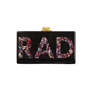 Medium edie parker jean rad glittered acrylic box clutch