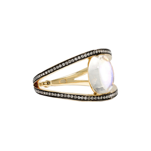 Medium noor fares18 karat gold moonstone  diamond and sapphire ring