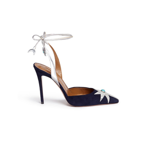 Medium aquazzura x poppy delevigne multicolor midnight suede d orsay pump