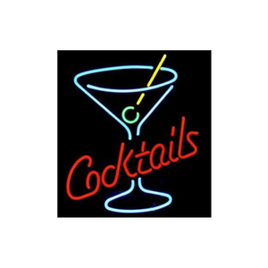 Medium cocktails martini glass logo beer bar neon light sign 18 x16  ebay