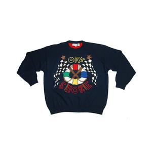 Medium vintage jc de castelbajac offshore jumper cotton sweater blue crew neck 54 xxl ebay