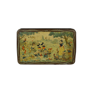 Medium 1930s belgian biscuit tin box with many disney comic characters 1stdibs