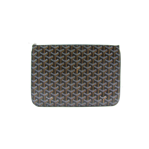 Medium goyard senat mm clutch bag pouch handbag pvc leather calfskin black new