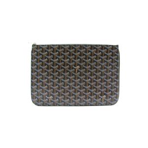 Medium goyard senat mm clutch bag pouch handbag pvc leather calfskin black new