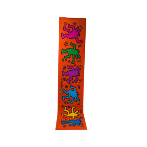 Medium keith haring orange runner rug with dancing figures in blue green purple yellow 1st dibs