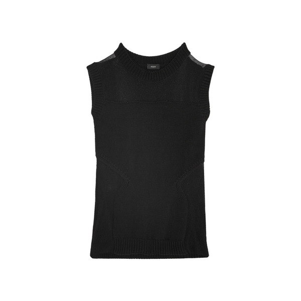 Large joseph women s black mesh paneled cotton tank