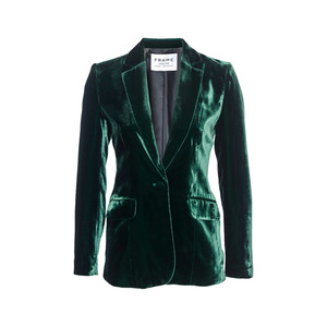 Medium frame velvet green suit
