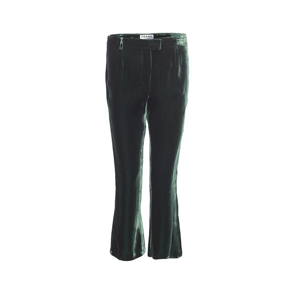 Large frame  green velvet trousers