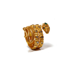 Medium jade jagger   snake gold ring