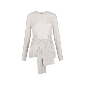 Medium whistles tie front long sleeve knit