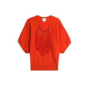 Medium claudia schiffer fringed wool pullover with cashmere