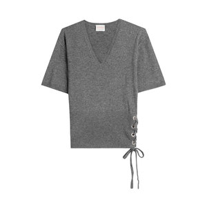 Medium claudia schiffer wool and cashmere top with lace up side