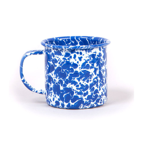 Large splatterware enamel splatterware mug blue marble urbanexcess