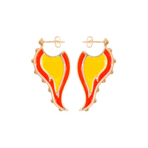 Medium gold plated brass earrings with orange and yellow enamel.  jiwinaia
