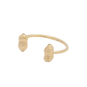 Medium jiwinaia gold plated brass bracelet with double peanuts.