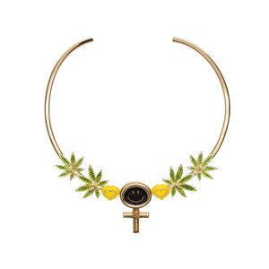 Medium jiwinaia gold plated brass necklace with translucent green enamel leaves