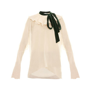 Medium chloe velvet tie ruffle neck crepon blouse