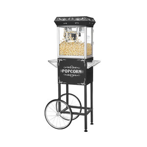 Medium great northern popcorn black 4 oz. ounce foundation old fashioned popcorn popper and cart