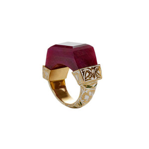 Medium jade jagger ruby ring with enamel work   enquiry