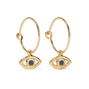 Medium matches iam by ileana makri eye gold plated cubic zirconia hoop earrings