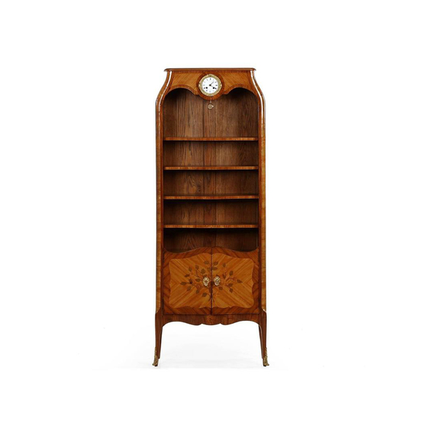 Large 1st dibs fine bell epoque marquetry biblioteque antique bookcase with clock  paris