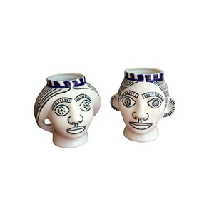 Medium 1st dibs pair of man and woman porcelain cebezas by sargadelos  madrid