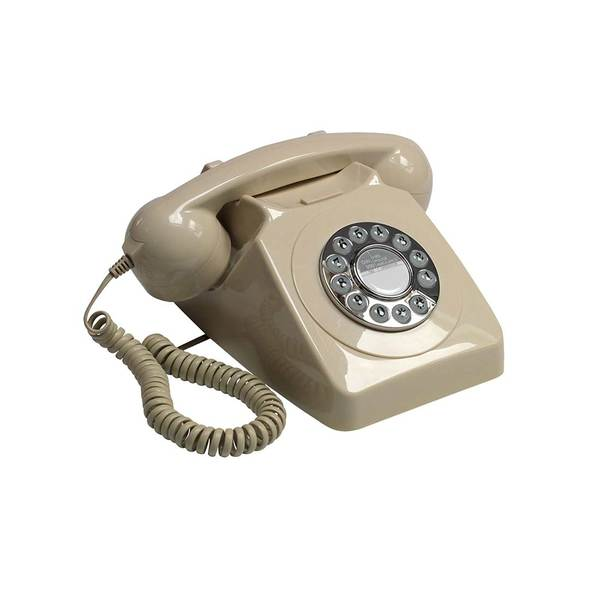 Large gpo 746 push button retro telephone with authentic bell ring   ivory amazon
