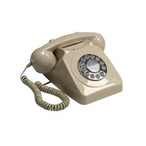 Medium gpo 746 push button retro telephone with authentic bell ring   ivory amazon