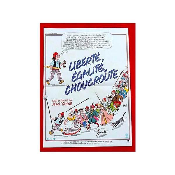 Large jean yanne poster. cin ma. affiche 37 x 54. libert  egalit  choucroute de jean yanne. 1985   neuf