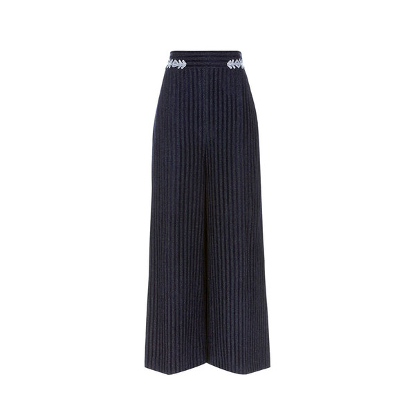 Large peter pilotto navy velvet pinstripe culottes