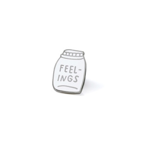 Medium bottled up feelings enamel pin