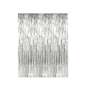 Medium amazon sunbeauty big 3ft x 8ft fringe foil curtain party tinsel backdrop party wedding decoration valentines decoration  silver  ...