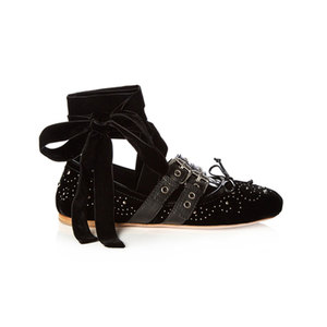Medium large matches miu miu stud embellished velvet ballet flats