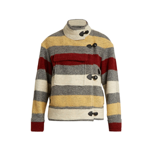 Medium matches isabel marant etoile fred blanket striped patch pocket jacket