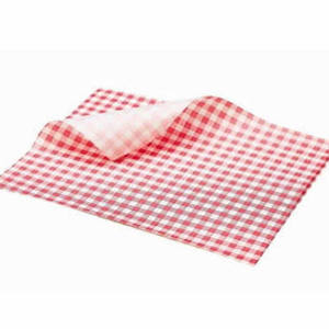 Medium red gingham check greaseproof paper 25x20cm for chip buckets side
