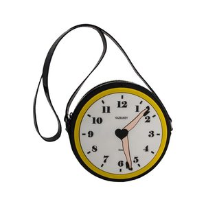 Medium yaz clock leather and plexi round bag