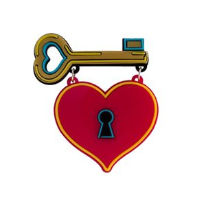 Medium yaz heart key plexiglass broach
