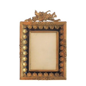 Medium first dibs wonderful french dore  bronze blue enamel neoclassical musical picture frame