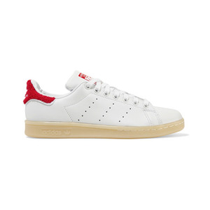 Medium stan smith winter terry trimmed leather sneakers