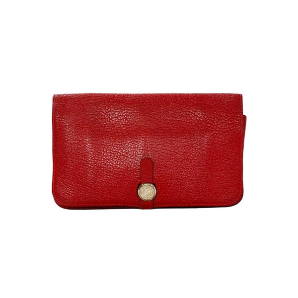 Large first dibs hermes red chevre leather dogon wallet phw