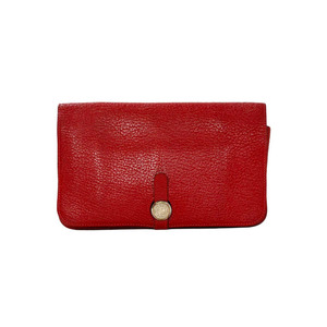Medium first dibs hermes red chevre leather dogon wallet phw