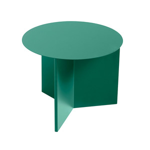 Medium slit round side table green hay hay clippings 1295611