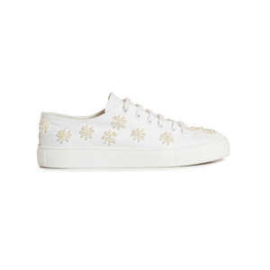 Medium simone rocha floral embellished canvas low top trainers