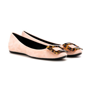 Medium roger vivier gommette turtle buckle suede ballerinas