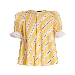 Medium anna october puff sleeve striped cotton top