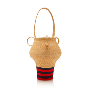 Medium rosie assouline navy and red stripe jug bag