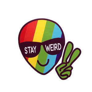 Medium stay weird sticker stay weird rainbow etsy