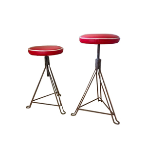 Medium pamono industrial red leather stools  1950s  set of 2